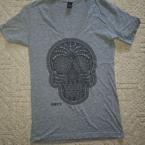 OBEY womens skull shirt